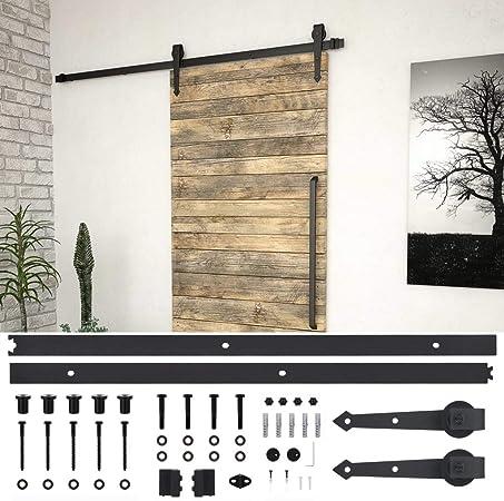 Festnight Kit de Herrajes para Puertas Correderas Acero Negro 200 Cm, 80 Kg, Juego de Colgadores para Puertas Correderas: Amazon.es: Hogar