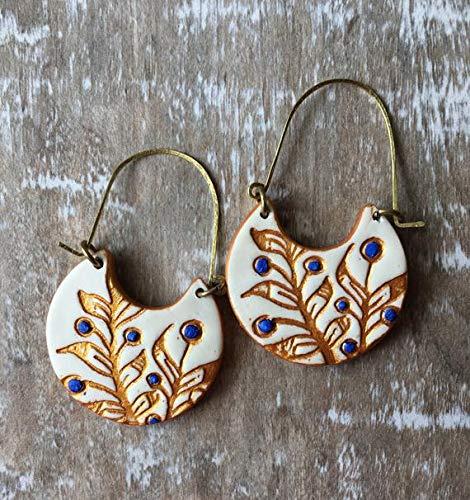 blue white earrings Portuguese antique tiles Portuguese antique majolica tiles hoop earrings Portugal tiles replica wood hoop earrings