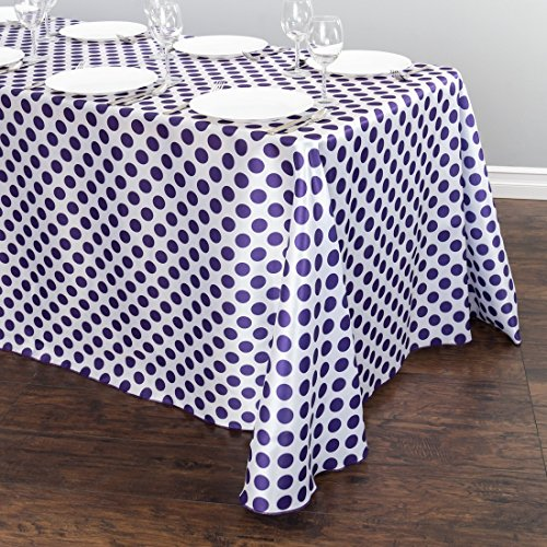 (90 x 156 in. Rectangular Polka Dot Satin Tablecloth White / Purple)