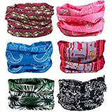 SmilerSmile 6pcs Assorted Seamless Outdoor Sport Bandanna Headwrap Scarf Wrap, 12 in 1 High Elastic Magic Headband & Collars Muffler Scarf Face Mask with UV Resistance