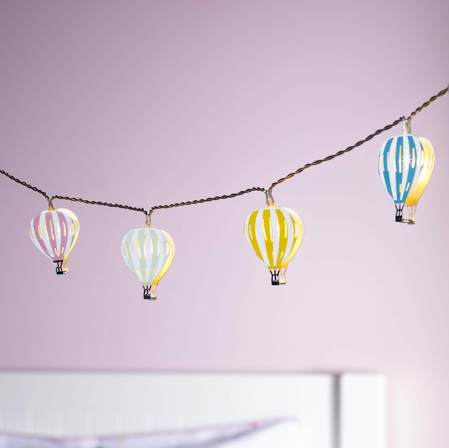 Lights4fun, Inc. 12 Hot Air Balloon Battery Operated LED Bedroom String Lights