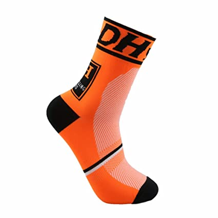 Starter Profesional Calcetines Ciclismo Transpirable Que Absorbe Running Deporte Bicicletas Calcetines Hombre Mujer (Naranja)