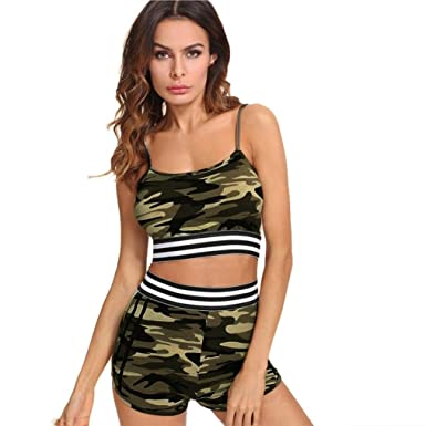 0a43d9a78c0 Womens Camouflage Printed Shorts Sets 2 Piece Outfits Sleeveless Tank Top  Short Pants Casual Outfit Sportswear