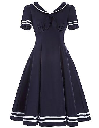 HUINI Vintage Kleid 50er 60er Jahre Matrosenkleid Retro Rockabilly Kleid  Swing Ballkleid Kurz V-Ausschnitt Cocktailkleid Kurzarm Faltenrock   Amazon.de  ... 363d6cd5ee