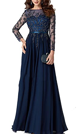 a8b934f27aa Amazon.com  Newdeve Mother of Bride Dresses Long Sleeves Beaded A Line Navy  Blue Long Evening Gowns  Clothing