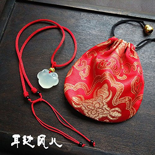 Natural Pendant Jade Longevity (usongs Cheap Natural Jade jade necklace pendant lovely longevity lock red string necklace pendant Children's Day gift)