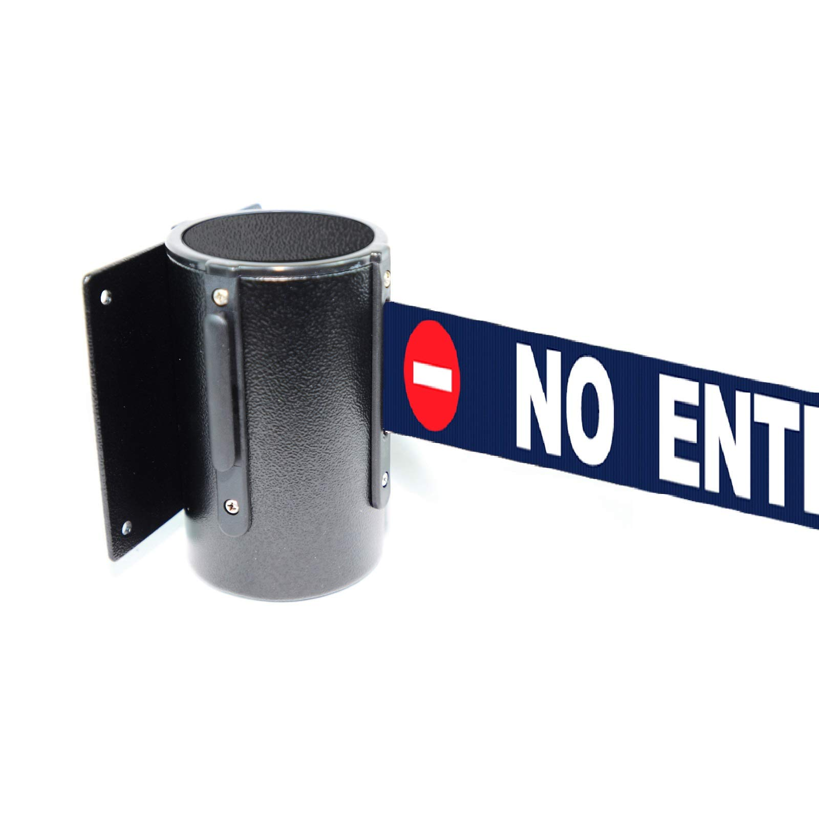 Retractable Safety Wall Queue Barrier With Tuff Tex Black Finished (120'' No Entry) by Crowd Control Center