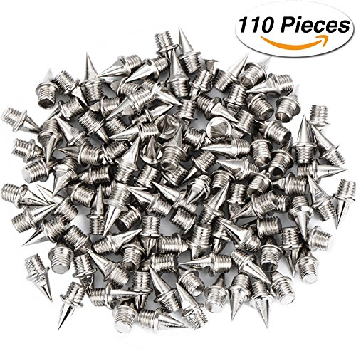Hicarer 110 Pieces 1/ 4 Inch Steel Track and Cross Country Spikes Replacement Shoe Track Spikes, Silver (Track Shoe)