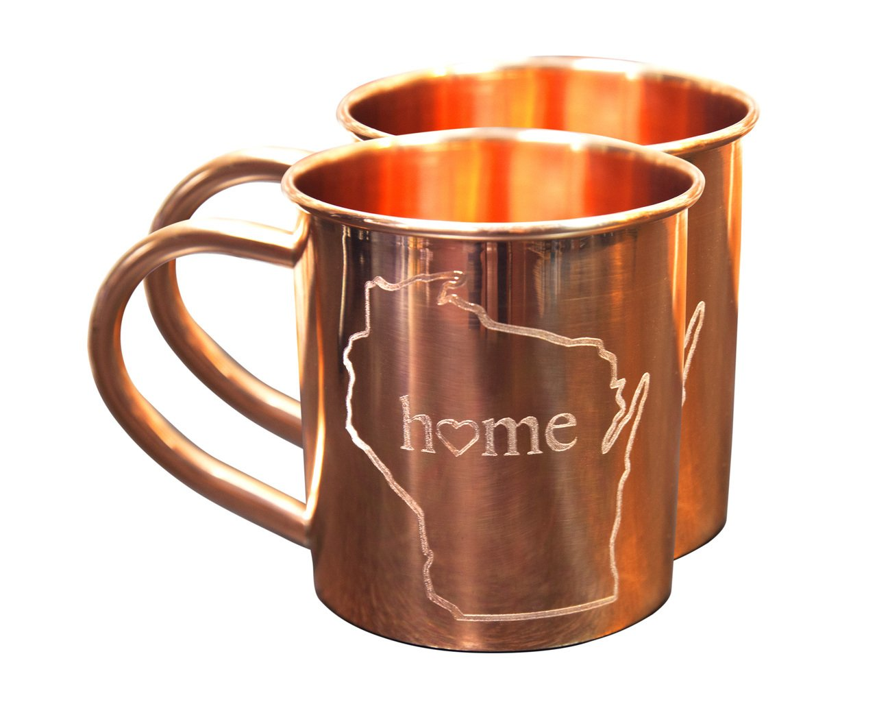 Home State Copper Mugs For Moscow Mules - Wisconsin Mug - 100% Pure Copper Mug - Best For Moscow Mules Lovers - Set of 2 Copper Cups - 14 OZ By Alchemade