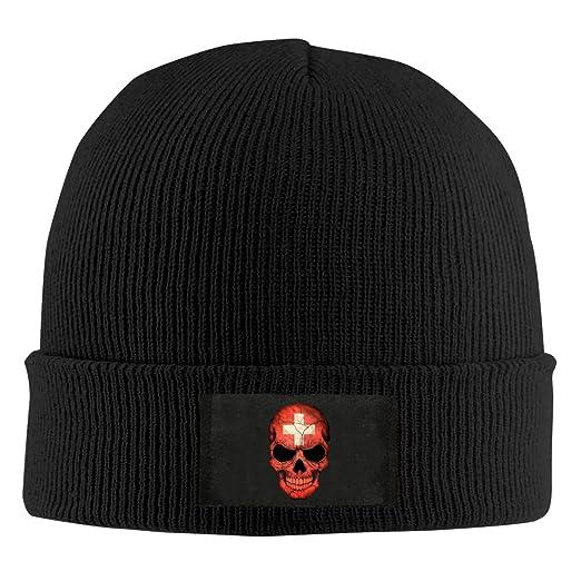 Mens Womens Beanie Cap Swiss Flag Skull Switzerland Watch Hat Winter Warm  Knit Skull Hat Cap Black at Amazon Men s Clothing store  2b5876bca99