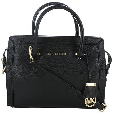 6d56e6792f15 Michael Kors Collins Women's Leather Medium Satchel Handbag Black