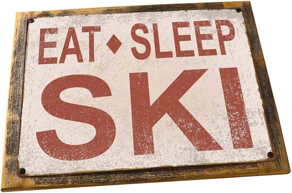 OMSC Wood-Framed Eat Sleep Ski Metal Sign, Sport, Cabin, Lodge, Mountain on Reclaimed, Rustic Wood