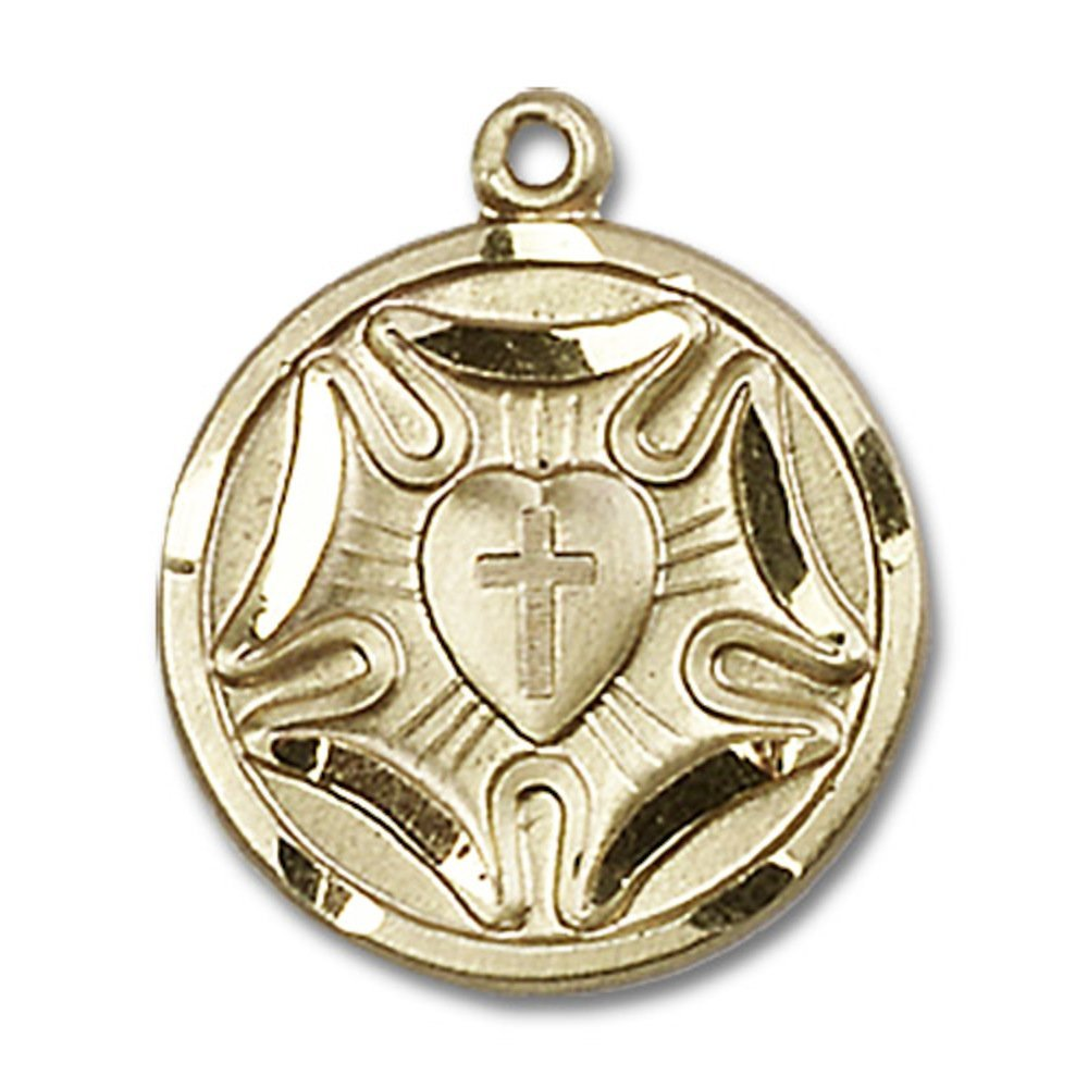 Gold Filled Women's LUTHERAN Pendant - Includes 18 Inch Light Curb Chain - Deluxe Gift Box Included