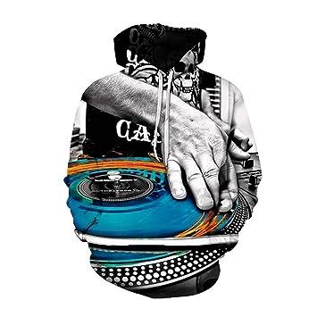 YZFZYLW Sudadera 3D Ropa Interior Unisex con Capucha Hombre Mujer Estampado Creativo De DJ Patrón Sudadera con Capucha Sudadera con Capucha Top Coat, ...