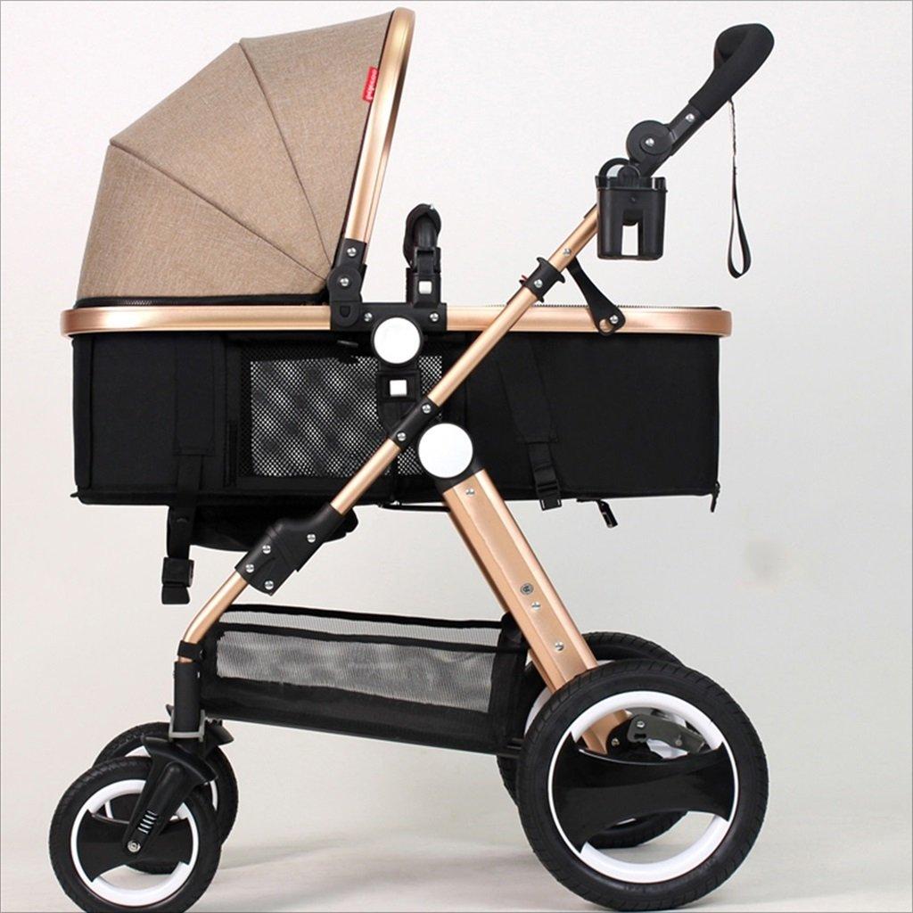 新生児の赤ちゃんキャリッジ折りたたみ可能な座って、1ヶ月のためのダンピングの赤ちゃんカートに落ちることができます 3歳の赤ちゃんの双方向四輪ベビートロリーを振るのを避ける (色 : カーキ) B07DVBDWVRカーキ