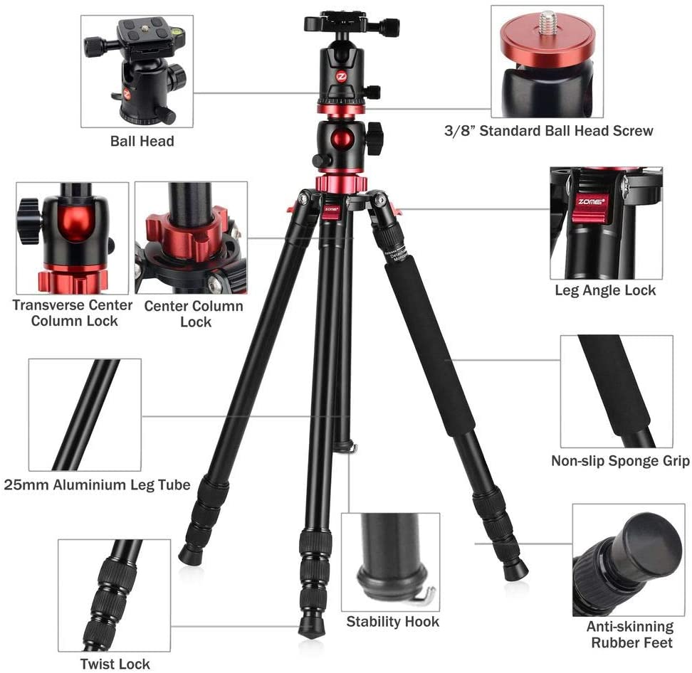 XIXI Aluminu Alloy Cameras Tripod,Travel Lightweight Tripods Quick Release Plates 360 Degree Ball Head Compatible DSLR SLR Video Camera with Carry Bag