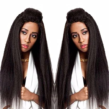 Andria Hair Peluca Lace Front Synthetic Wigs Long Yaki Straight Heat Resistant Hair Pre Plucked Wig