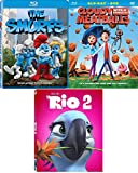 Kids pack Rio / Smurfs / Cloudy with A chance of Meatballs Blu Ray bundle Animated Movie Collection Triple Kids Feature