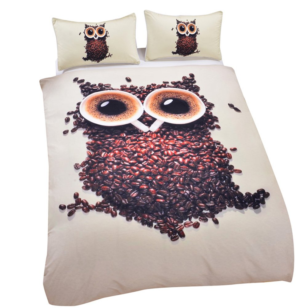 Sleepwish Owl Bedding Set Single, Cute Coffee Beans with 2 Cups Design, Animal Print Single Duvet Covers, 3 Piece Kid Comforter Covers