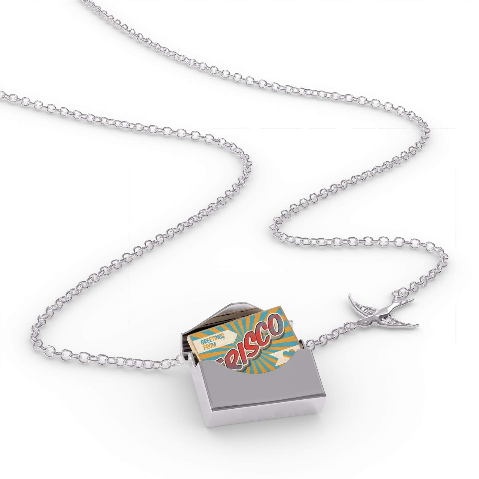 NEONBLOND Locket Necklace Greetings from Frisco, Vintage Postcard in a Silver Envelope