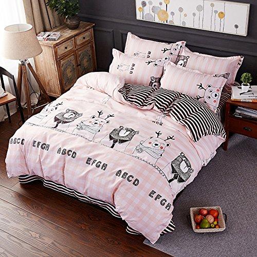 Smile Bear, Pink Queen,78 x91  KFZ Beddingset Duvet Cover Set No Comforter Flat Sheet Pillow Case ALM Twin Full Queen King Animal Cartoon Deer Bear Snails Nature Plaid Design for Kids Teens (Best Deer, Grey, King,86 x95 )