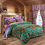 Purple and Teal Bedding Hunter Camo Comforter, Sheet, & Pillowcase Set (King, Teal / Purple)