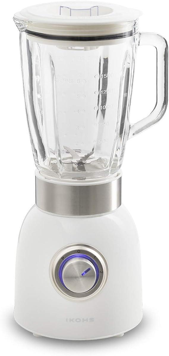 IKOHS Krum - Batidora de vaso de cristal, 1000 W, 6 Cuchillas, 3 Velocidades, Jarra de 1,8 L cristal termo-resistente, Bate, Tritura, Picahielo, Función Turbo a Máxima Potencia, color Blanco: Amazon.es: Hogar