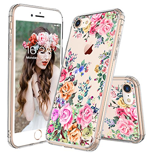 - iPhone 8 Case, iPhone 7 Case for Girls, MOSNOVO Roses Garden Floral Printed Flower Pattern Clear Design Plastic Hard Phone Case with TPU Bumper Case Cover for iPhone 7 / iPhone 8