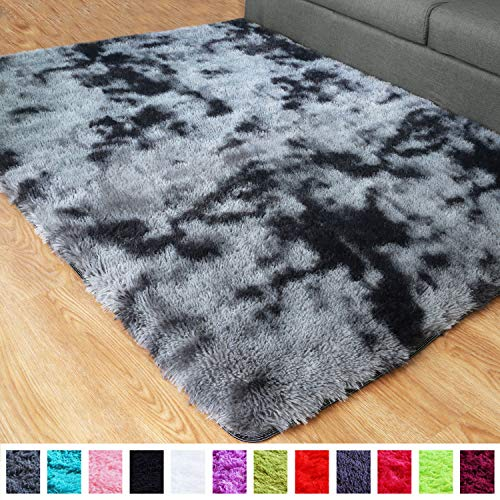 PAGISOFE Ultra Soft Abstract Area Fluffy Rug Black White Gray 4x5.3 Feet Carpet Thick Accent Rugs for Living Room Bedroom Dining Room Decor Multi Color with Rubber Backing (Grey and Black) ()