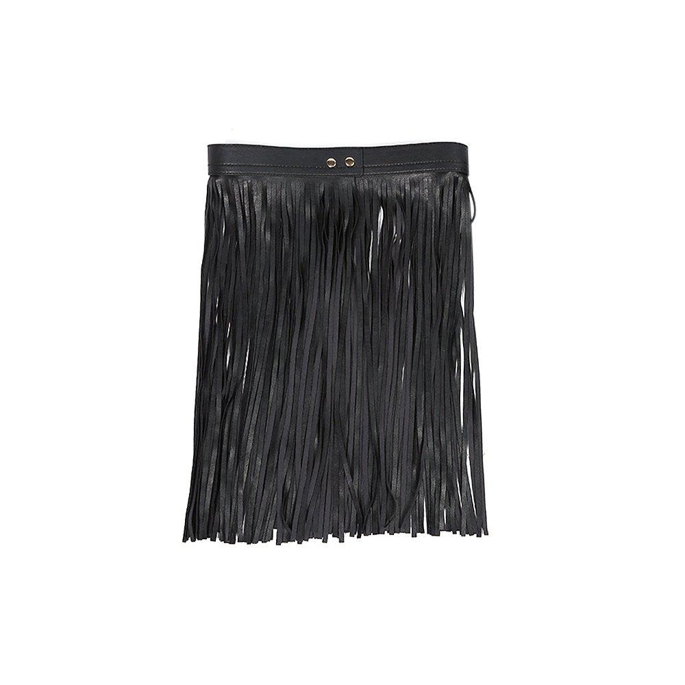 Tassel Belt for Women, Black Faux Leather Fringe Dress Belt Gypsy Style Ya Jin