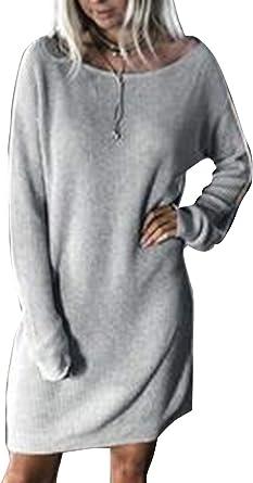 Vestido De Algodón para Mujer Primavera Otoño Casual Manga Larga ...
