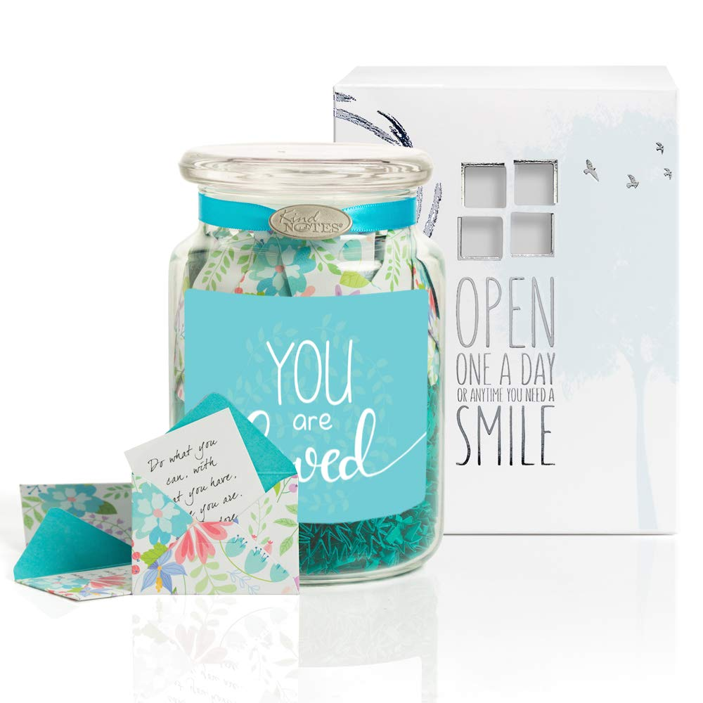 KindNotes Glass Keepsake Gift Jar with Positive Thoughts - Fresh Cut Floral You are Loved Design by KindNotes