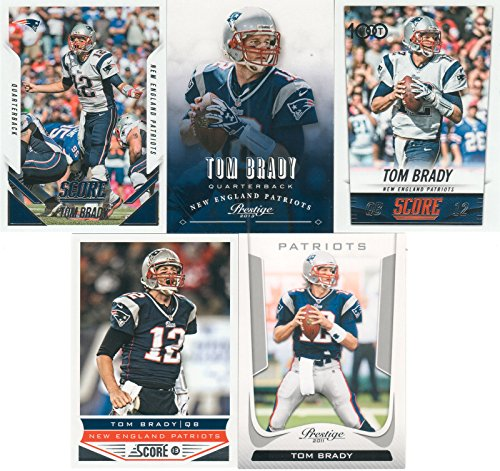 Tom Brady 5 Card Gift Lot Containing One Each of His 2015 Score, 2014 Score, 2013 Score, 2013 Prestige and 2011...