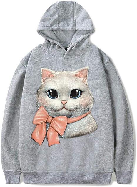 Sudadera larga con capucha para mujer, diseño de gatos: Amazon.es: Ropa y accesorios