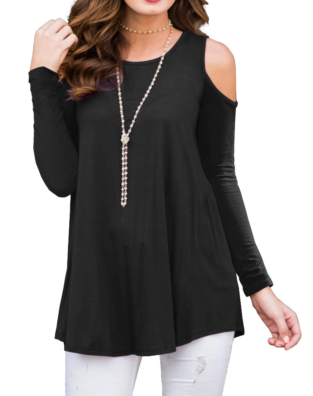 PrinStory Womens Long Sleeve Off Shoulder Round Neck Casual Loose Top Blouse T-Shirt Black-XL