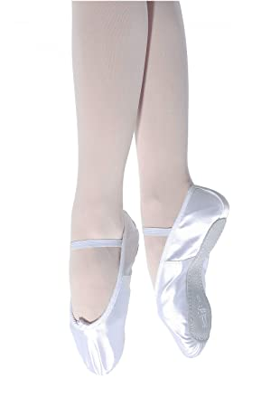 Fitted Leather Full Suede Soled Ballet Shoes With Elastics