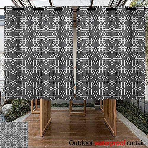 - AndyTours Sliding Door Curtain,Grey and White,Moroccan Star Pattern Arabesque Traditional Tile Symmetrical Motifs,for Patio/Front Porch,K183C183 Charcoal Grey White