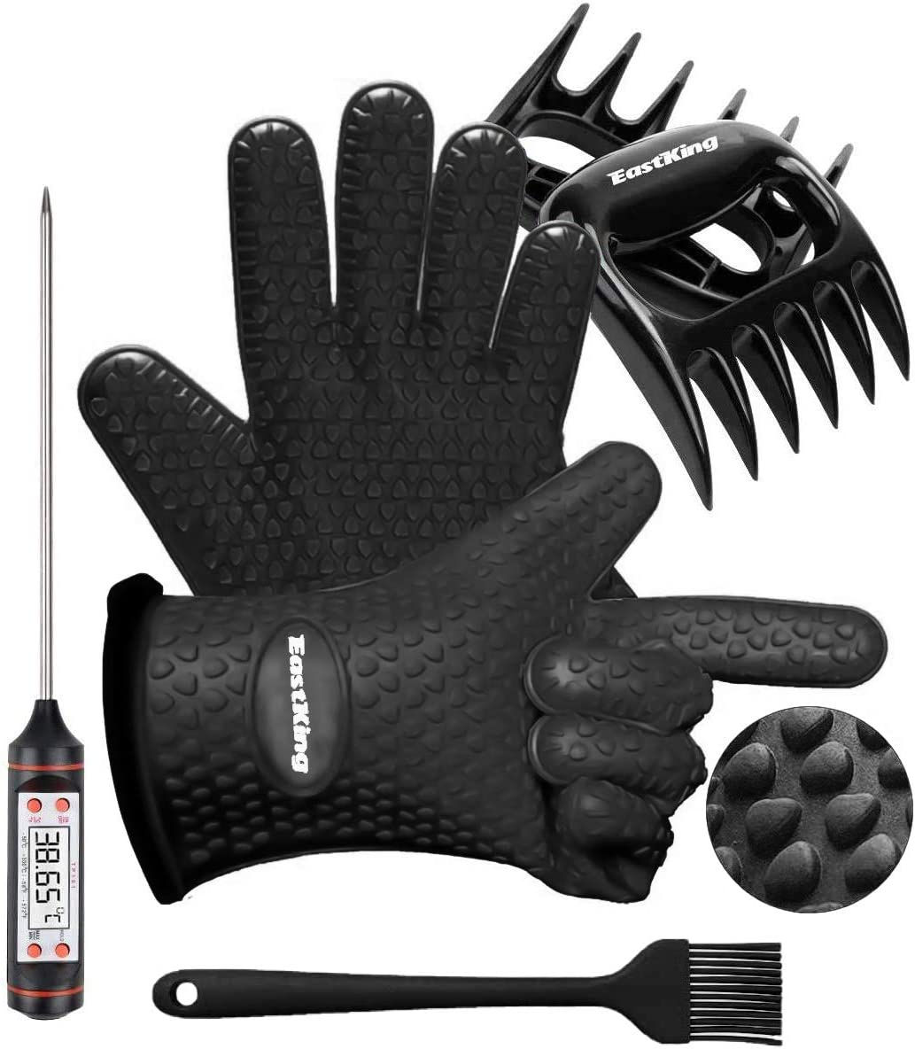 EastKing BBQ Gloves/BBQ Claws/Meat Thermometer and Silicone Brush Superior Value Premium Set (4pcs Set) - Heat Resistant/Non-Slip/Safe/Cooking/Grilling Silicone Gloves for Indoor & Outdoor (Black)