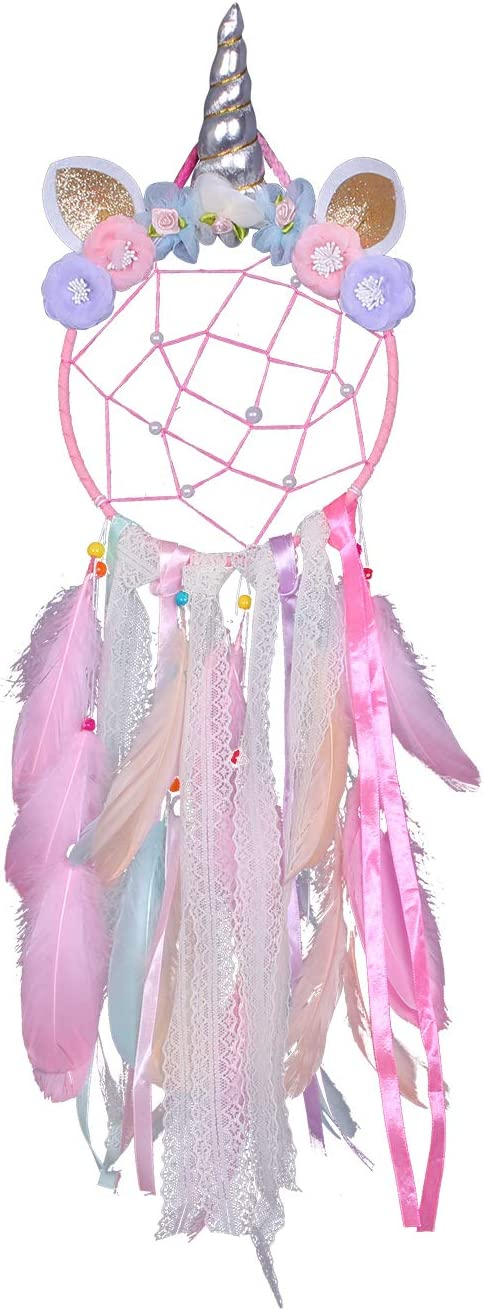 Unicorn Dream Catcher for Girls, Colorful Feather Dream Catchers for Bedroom Wall Hanging, Birthday Gift for Girls, 29 inches (Pink)