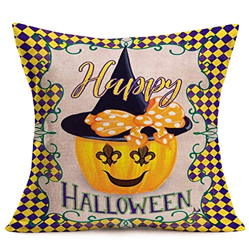 Smilyard Happy Halloween Pumpkin Throw Pillow CoversWitch Pattern Pillow Case Cotton Linen Yellow andPurple Plaid Background Pillowcase Cushion Cover for HolidaySofa Gift 18