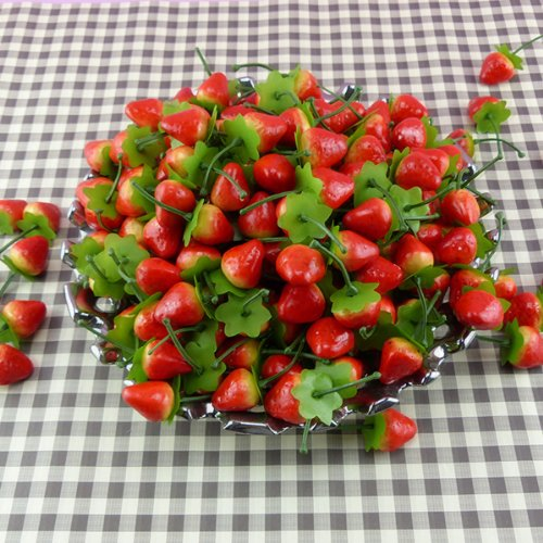 30 X Cute Fake small Red strawberry artificial fruit House Party Kitchen decor Realistic Artificial Fruits Play Food 30pcs