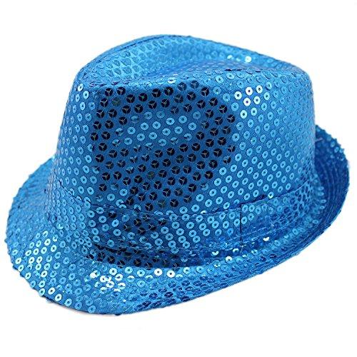 Funkeet Adult Sequin Fedora Hat Kid Dance Cap Solid Jazz Hat Party Glitter Costum (S - Kids, Light Blue)]()