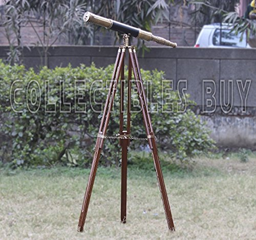 Sailor Boat Antique Telescope Black Leather Wooden Stand Marine Royal Telescopes by Collectibles Buy (Image #5)