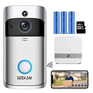 GeeKam Video Doorbell Camera,Wireless WiFi Smart Doorbell with Indoor Chime,32GB Micro SD Card,Real-time Two-Way Talk,PIR Motion Detection,2.4G WiFi Connection,IR Night Vision,166°Wide Viewing Angle.