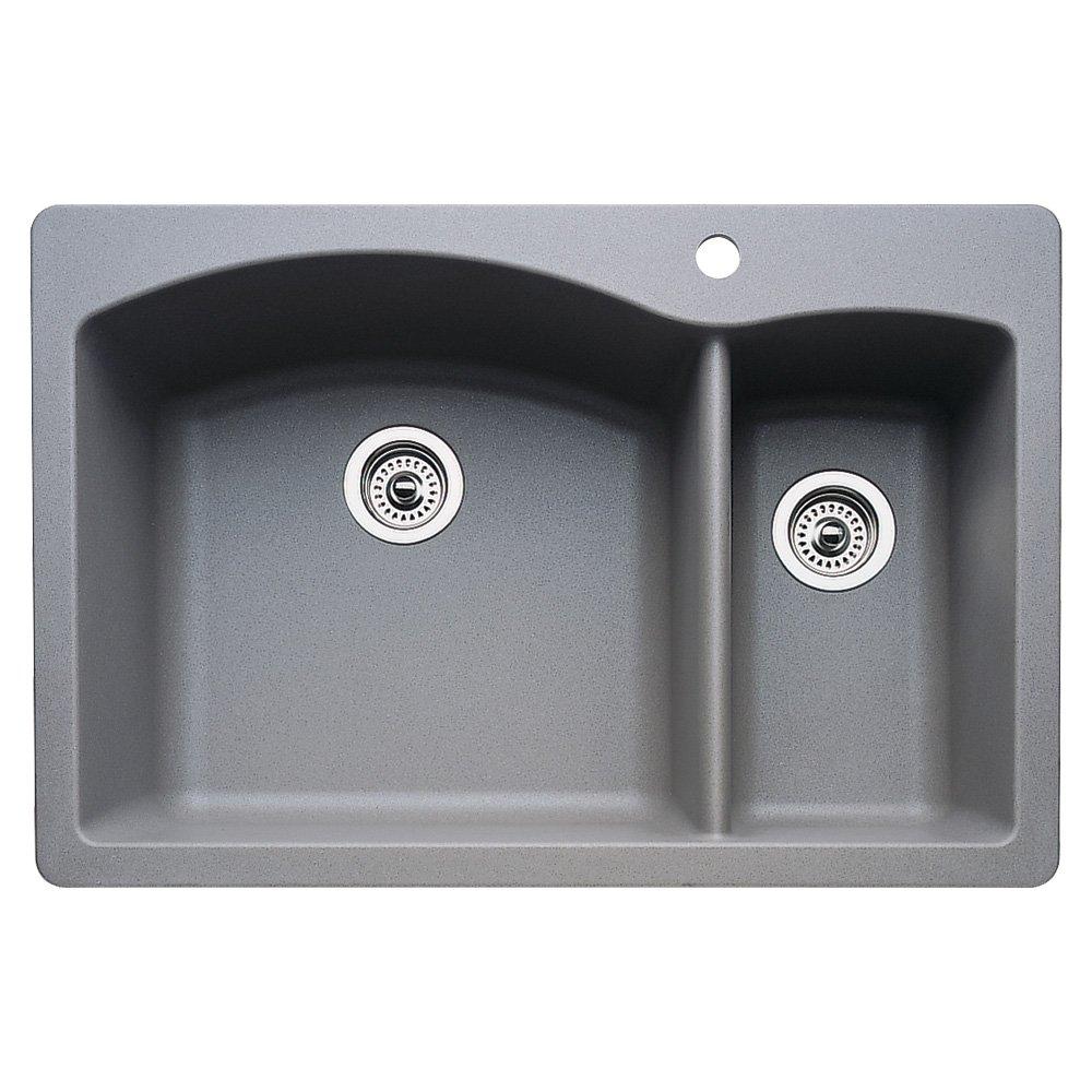 Blanco 440198 Diamond 1 1/2 Bowl Kitchen Sink, Metallic Gray Finish    Double Bowl Sinks   Amazon.com