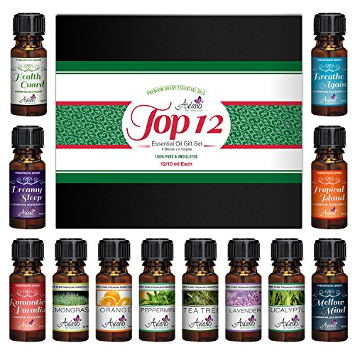 Top 12 Essential Oils Gift Set for Diffuser - #1 Voted Christmas Gifts for Women, Girls, Mom, Wife, Her for Aromatherapy by Aviano Botanicals