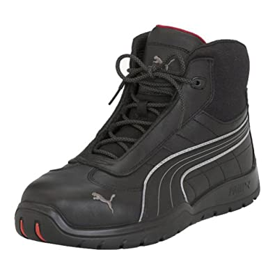 a454e8d7e119a PUMA Safety Black Mens Leather Daytona Mid SD WRU ST Laceup Work Boots