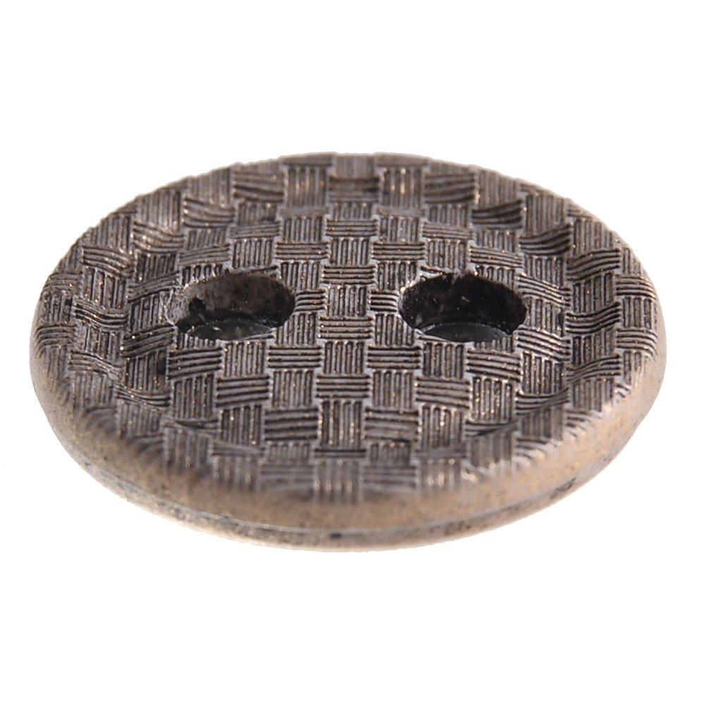 Mibo Nylon Button Woven Texture Antique Gold Finish 2 Hole Button 6 or 10 Pack 18 mm 10 Pack