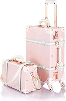13/&20 Carry-on COTRUNKAGE Travel Vintage Luggage Set 2 Piece Floral Cute Trolley Suitcases with Spinner Wheels for Womens , Beige Floral