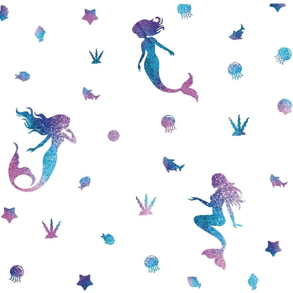 TOARTi Mermaid Wall Decal Fairytale Ocean World Decorations Girls Nursery Decal Bathroom Wall Sticker Bathtub Decoration Home Decor,Sea Blue